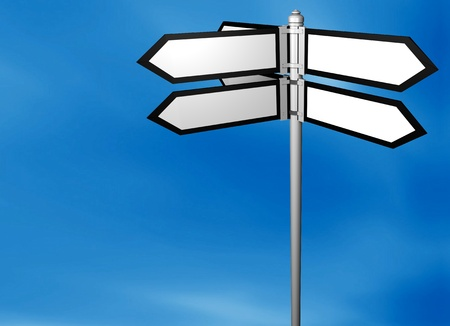 Blank signpost with easy background change Stock Photo - 12609223