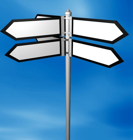 Blank signpost easy background change Stock Photo - 12609219