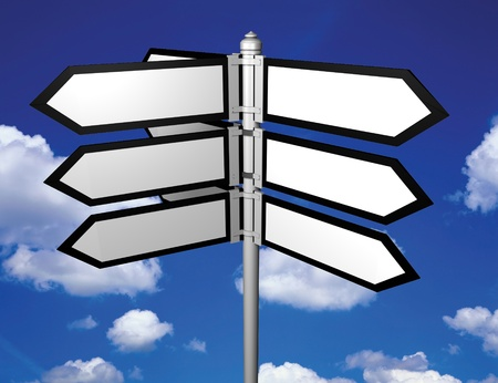 Blank signpost  easy background change Stock Photo - 12609226