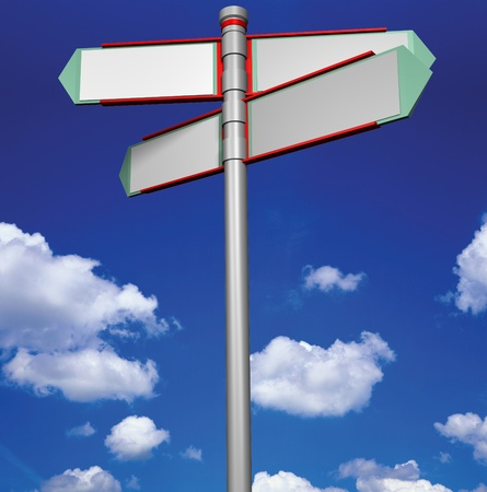 Blank signpost easy background change Stock Photo - 12609229