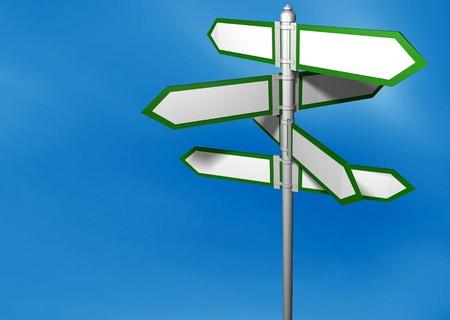 Blank signpost easy background change Stock Photo - 12609224