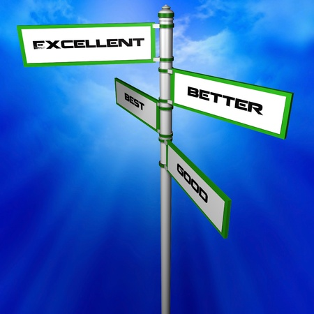 good better best: Directional Sign with Excellence Good Better Best Words  Stock Photo
