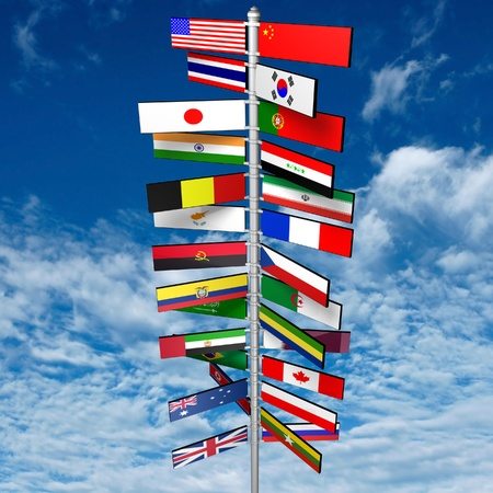 States of the World and Their Flags Image ID  97578725   Release  information  N A   Copyright  mamanamsai   Keywords  australia, blue, brazil, canada, china, concepts, england, flag, global business, global communications, government, guidepost, india, j photo