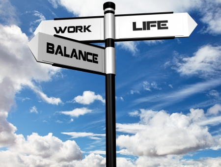 Work Life Balance Image of a signpost offering the directions to work and life, with balance between the two  Stock Photo
