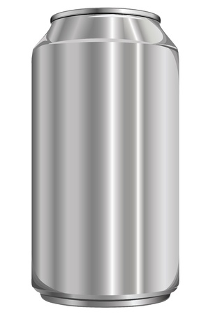 Blank beer can on white background