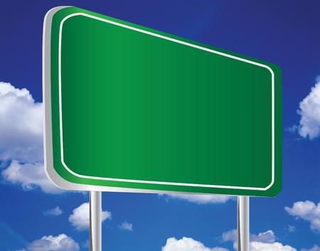 blank road sign: Green billboard on sky  Stock Photo