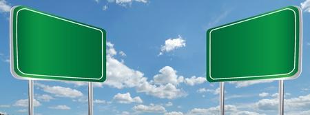 Green billboard on sky  photo