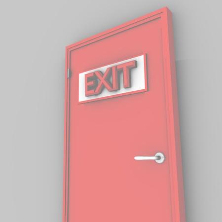 door casing: single red door closed