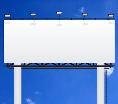 blank expression: Billboard on blue sky background  Stock Photo