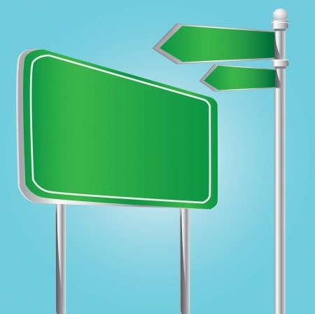 Green billboard and signpost  Vector