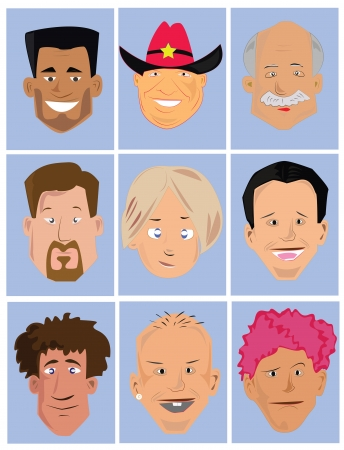 human face: Avatar set Men faces Illustration