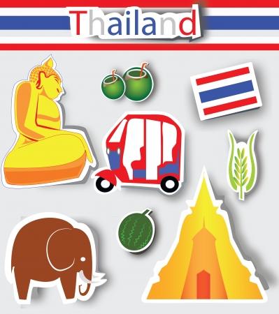 thai buddha: Tailandia iconos de la cultura, el logotipo