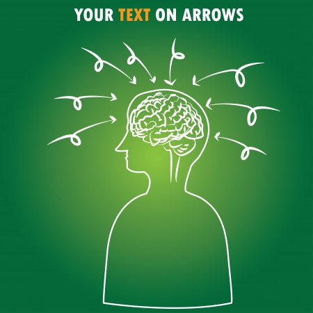 inventions: Arrows,intelligence ,Brain,Vector  Illustration