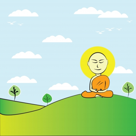 Buddhist Monk ,Vector  Stock Vector - 14958559