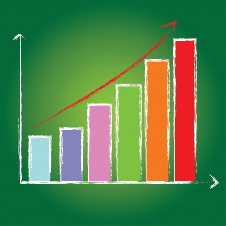 Graph on blackboard background  Vector