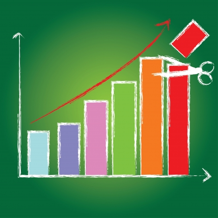 Cut,business growth bar graph on green blackboard  Vector