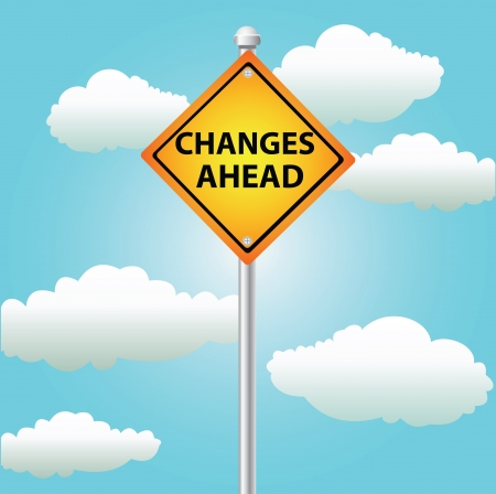signpost: Changes ahead sign,on blue sky,Vector  Illustration