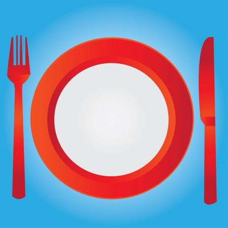 dinner setting: Plato vac�o, dibujando el juego de cuchillo y tenedor