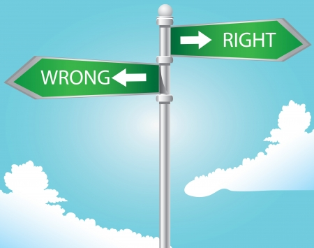 Right and wrong directional sign on blue sky Stock Vector - 15018376