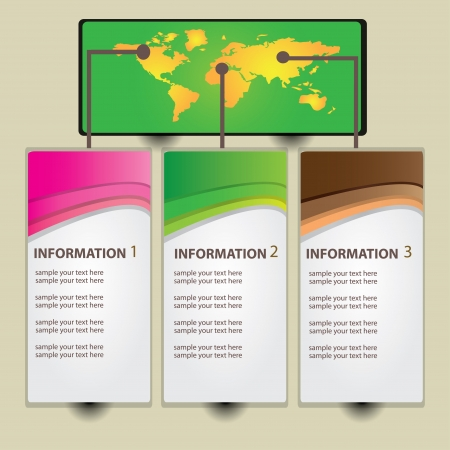 Color wave abstract banners,and world map,Vector  Vector
