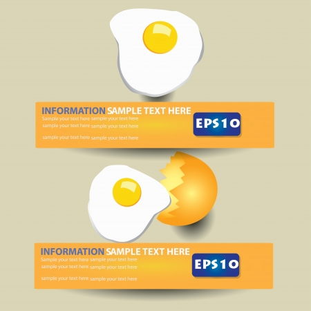 fryer: Fried egg banner,Vector