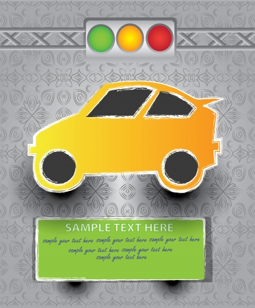 lowbrow: Car and traffic light cartoon on classic pattern background,Vector
