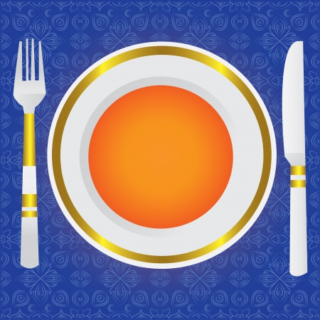 dinning: Empty dinner plate, drawing the knife and fork set
