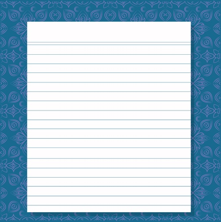 fanned: Blank white paper on blue pattern background,Vector  Illustration