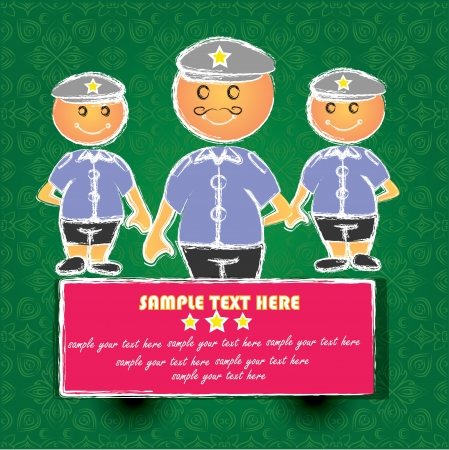 Police cartoon on green pattern background,Vector  Vector
