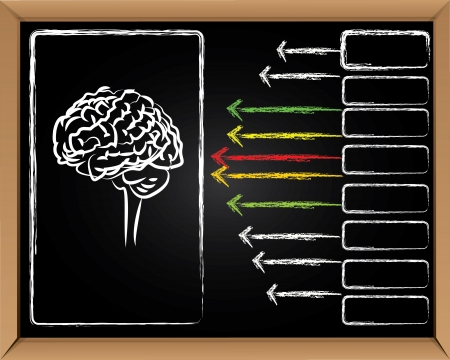 Brain and arrows on blackboard background,Vector Stock Vector - 16174079