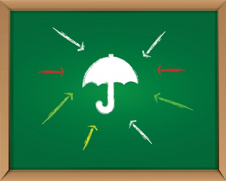 Umbrella on blackboard background,Vector  Vector