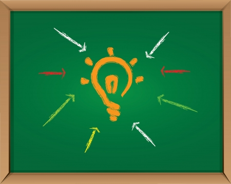 Light bulb on blackboard background,Vector Vector