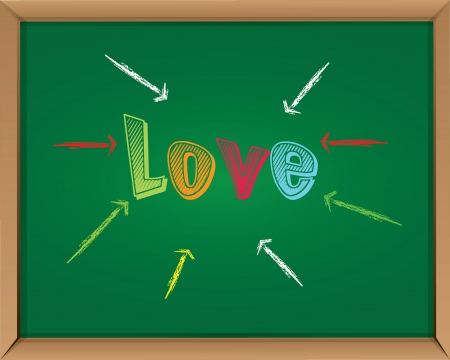 Love sign on blackboard background,Vector  Vector