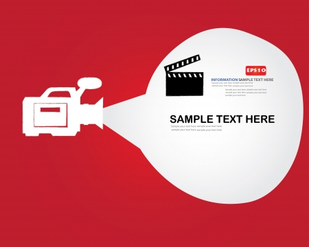 video camera: Movie sign and bubble for text,Vector