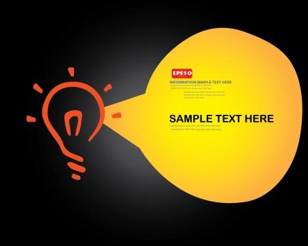 lightbulb idea: Lampadina e bolla per il testo, vettore Vettoriali