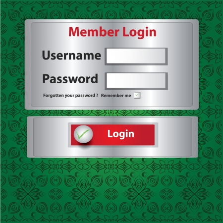 Login page on metal background,Vector  Vector