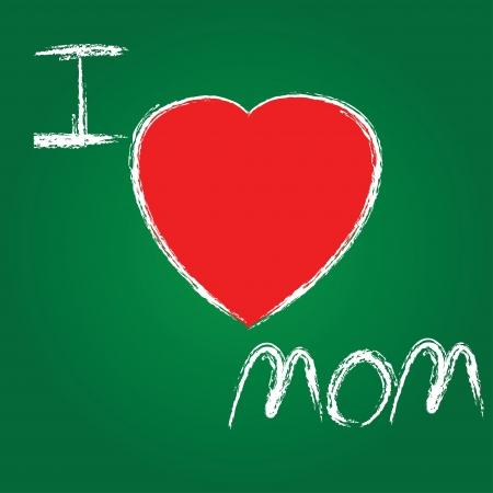 I love mom on blackboard background,Vector Stock Vector - 16173946