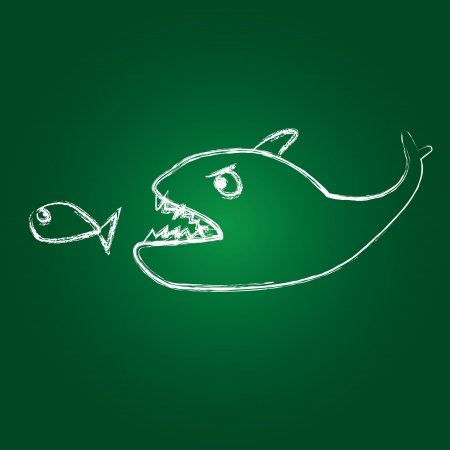 over sized: big fish eats small one Illustration