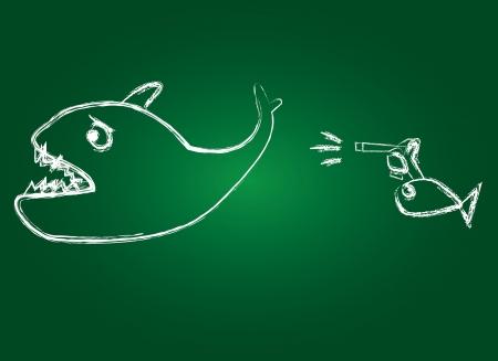 Big fish and gun,Vector  Stock Vector - 16174002