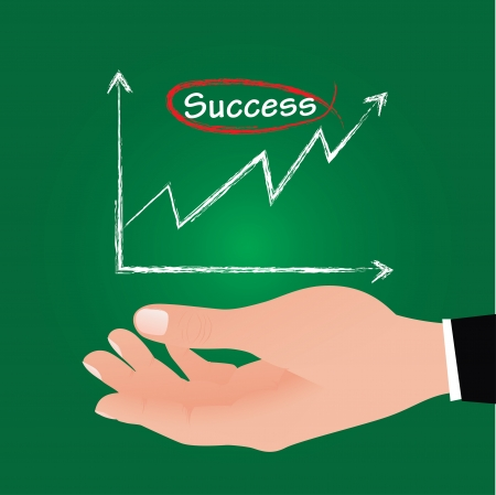 Success graph on hand business man,Vector  Stock Vector - 16173922
