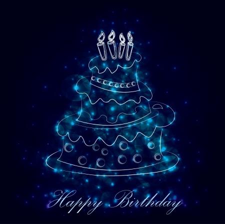 Feliz cumpleaños pastel gráfico, vectorial Foto de archivo - 16174290