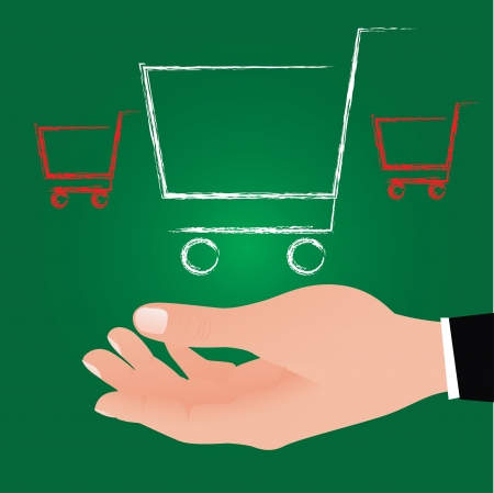 Pressing shopping cart icon ,Vector  Stock Vector - 16173963