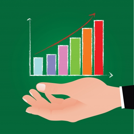 Graph on hand,Vector Stock Vector - 16173959