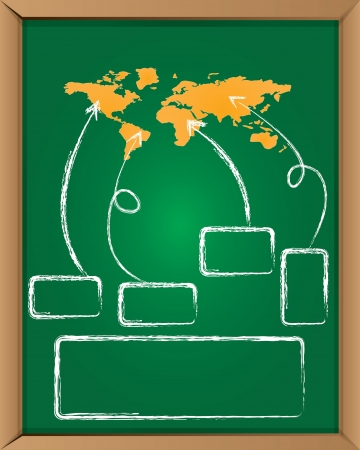 Map of the world on blackboard background,Vector  Vector
