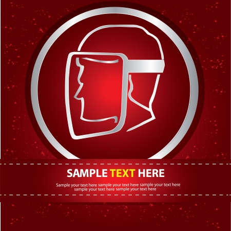 Safety sign on red abstract background,Vector  Vector