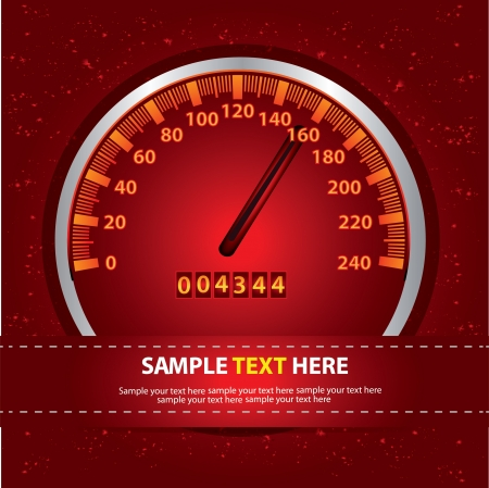mph: Speedometer on red background,for text,Vector