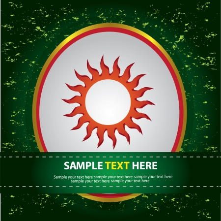Sun sign on green background,Vector Stock Vector - 16174206