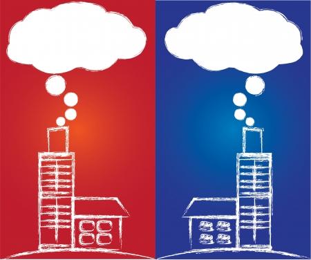 smoke stack: Inquinamento atmosferico da centrale elettrica a carbone, Vector