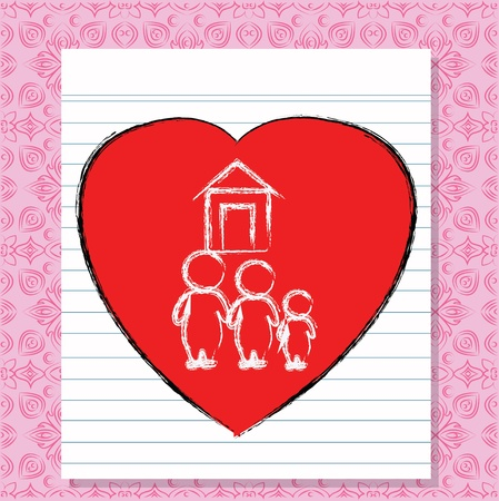 fanned: Heart and family, white paper on pink pattern background,Vector