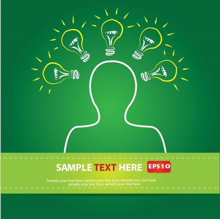 Light bulb and head on green ,Vector
